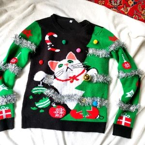 Holiday sweater cat tree ornaments size M